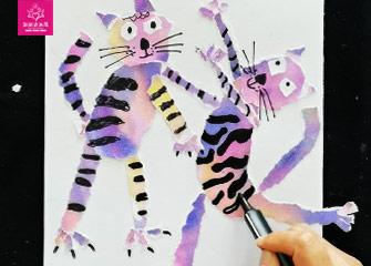 第七节:爱跳舞的猫(儿童画教程)-新起点画苑/2020年4月4日