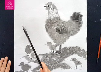 第八节:快乐的一家(国画教程)-新起点画苑/2020年4月11日