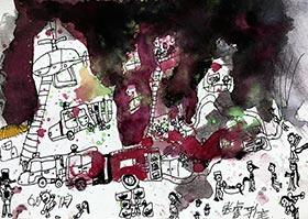 勇敢的消防员-儿童画基础B班2020年6月6日◆春季班◆新起点画苑-学生作品