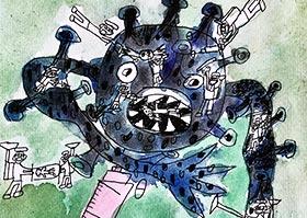 新冠病毒-儿童画大师A班-2020年6月5日◆春季班◆新起点画苑-学生作品