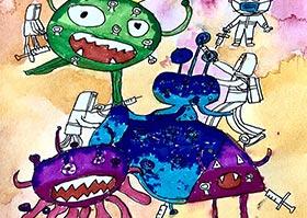 病毒怪兽-儿童画大师B班-2020年6月13日◆春季班◆新起点画苑-学生作品