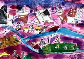 城市有轨电车-儿童画基础A班2020年6月24日◆春季班◆新起点画苑-学生作品