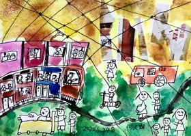 城市有轨电车-儿童画基础B班2020年6月27日◆春季班◆新起点画苑-学生作品